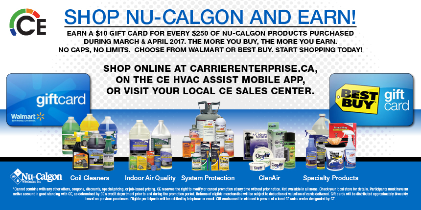Shop Nu-Calgon and earn! Earn a $10 Gift Card for every $250 of Nu-Calgon products purchased.