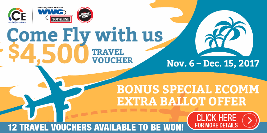 Come Fly with us - 12 $4,500 Travel Vouchers available to be won